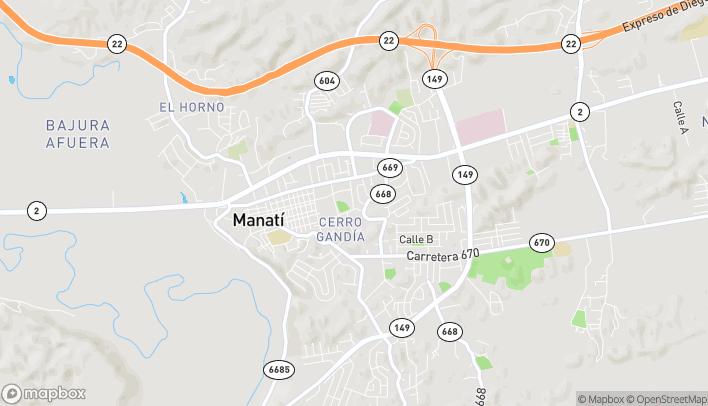 Map of Manati Centro Plaza Local A-1 Car. #2 in Manati