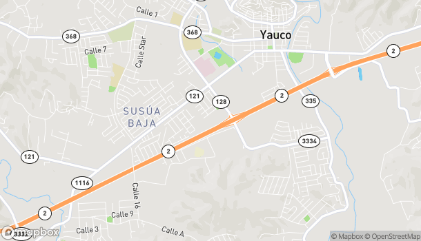 Map of Carr 128 in Yauco