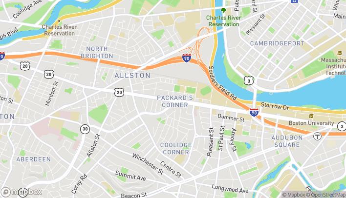 Mapa de 1089 Commonwealth Ave en Allston