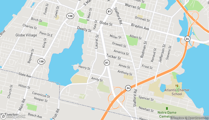 Map of 85 Mariano Bishop Blvd in Fall River