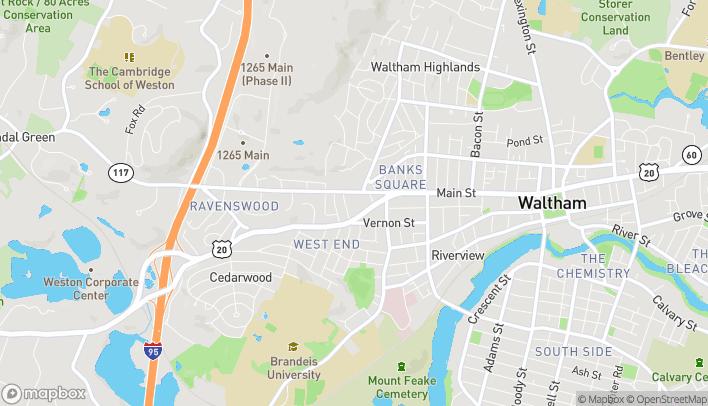 Mapa de 1030 Main Street en Waltham