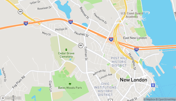 Map of 430 Broad St in New London