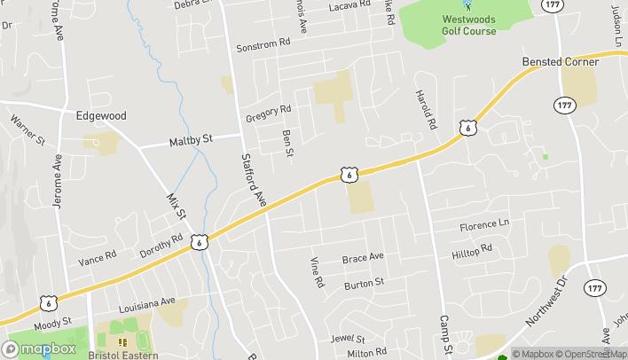 Map of 1215 Farmington Ave in Bristol