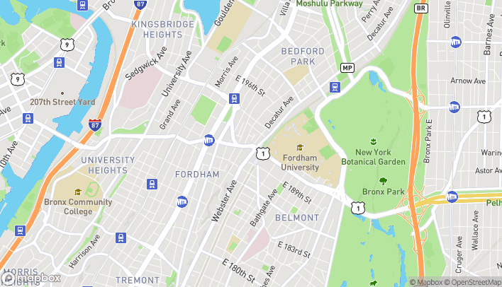 Map of 381 East Fordham Road in Bronx