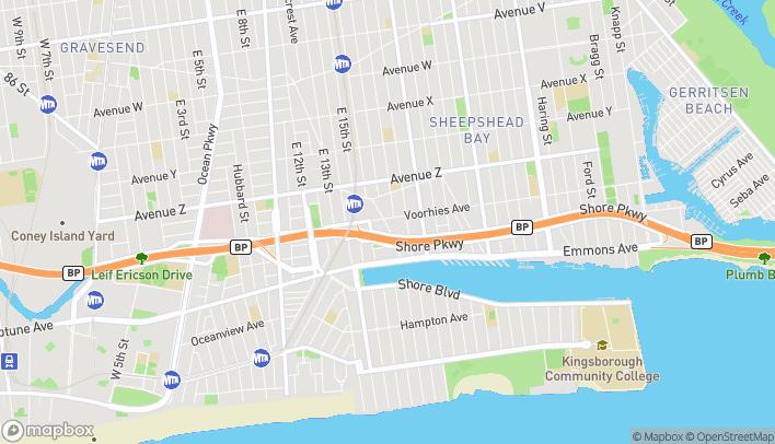 Map of 1707 Sheepsheadbay Road in Brooklyn