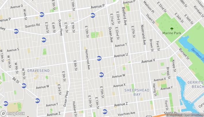 Map of 1612 Avenue U in Brooklyn