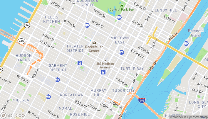 Map of 381 Madison Avenue in New York