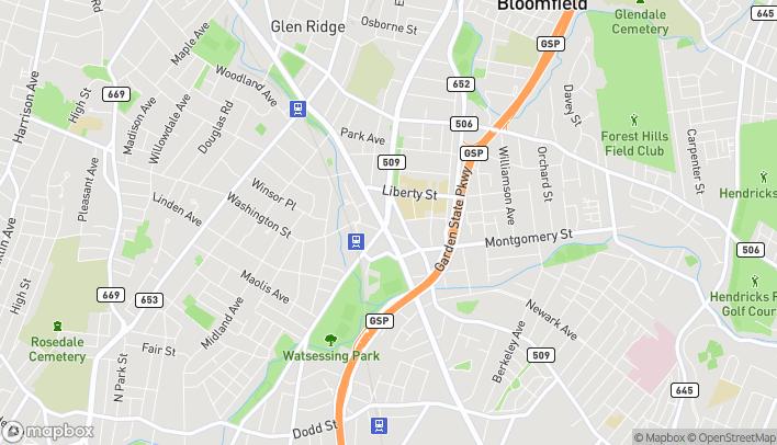 Mapa de 15 Broad St en Bloomfield