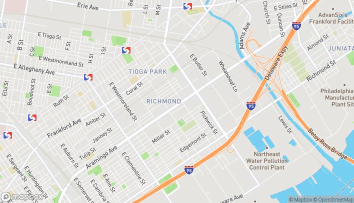 Map of 3584 Aramingo Ave in Philadelphia