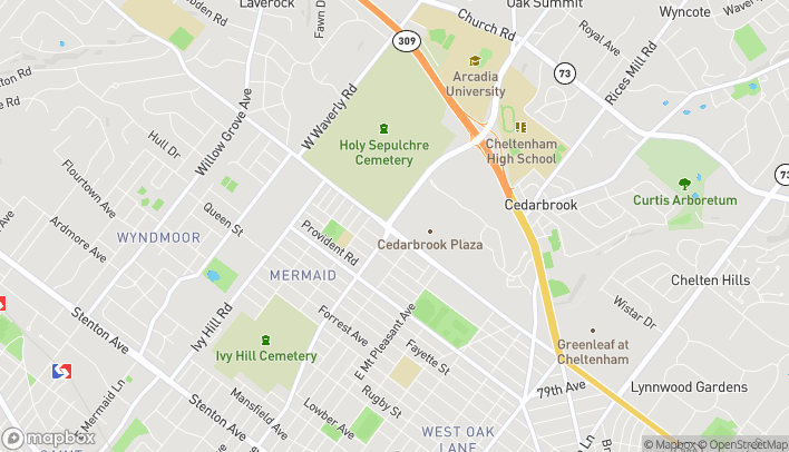 Map of 1000 Easton Road in Wyncote