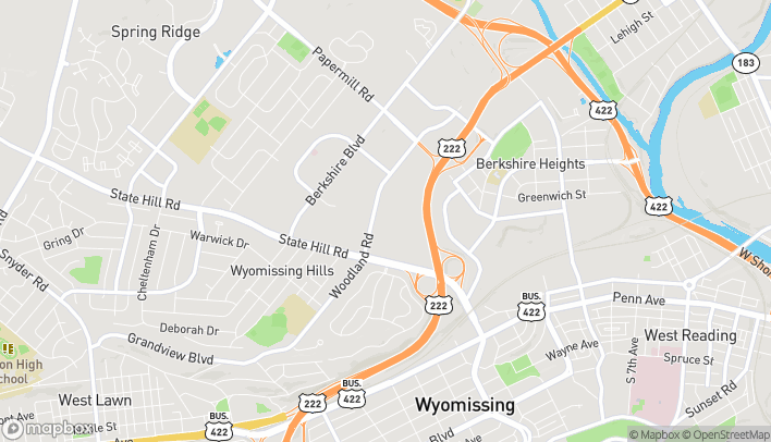 Map of 1665 State Hill Road in Wyomissing