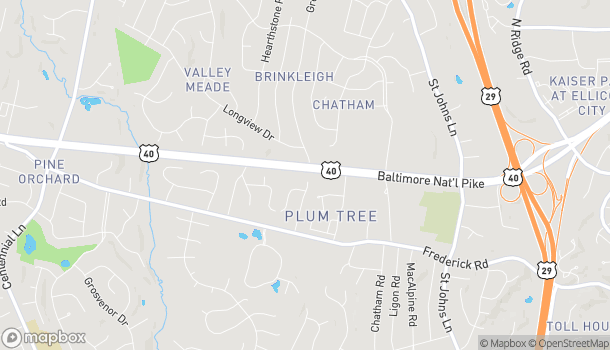 Map of 9525 Baltimore National Pike in Ellicott City
