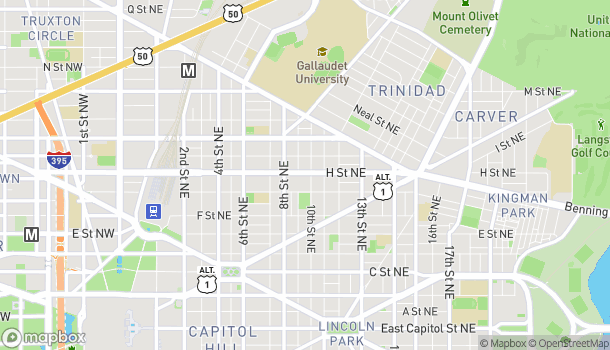 Map of 951 H St NE in Washington