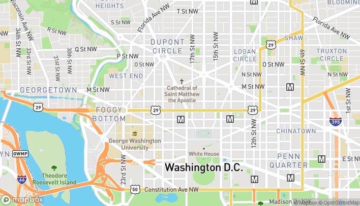 Map of 1050 Connecticut Ave NW in Washington