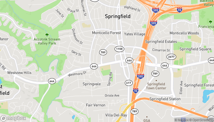 Map of 7114 Old Keene Mill Road in Springfield
