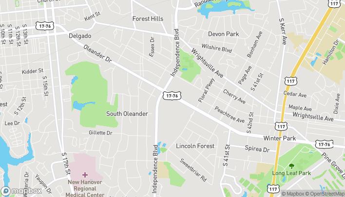 Map of 3512 Oleander Dr in Wilmington