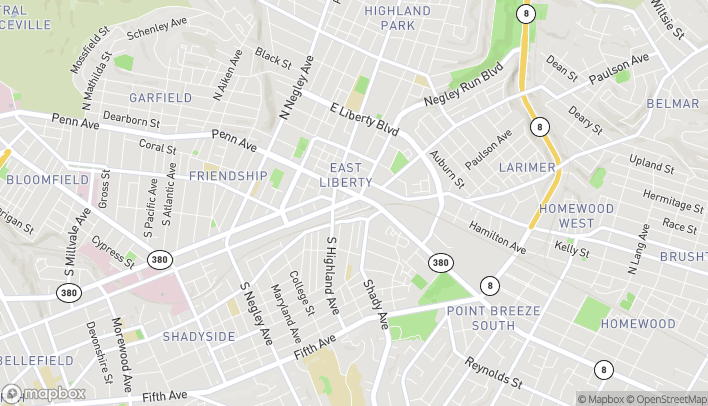 Map of 6124 Centre Ave in Pittsburgh