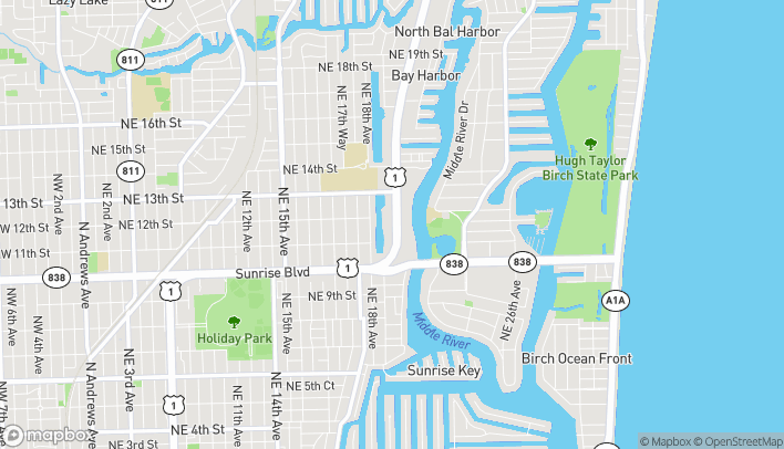 Map of 1165 North Federal Hwy in Fort Lauderdale