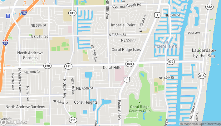 Mapa de 1817 East Commercial Blvd en Fort Lauderdale