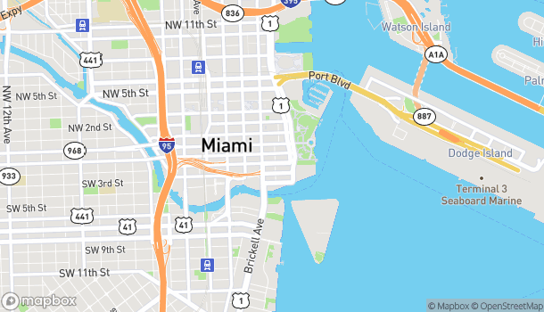 Map of 250 SE 1st St in Miami