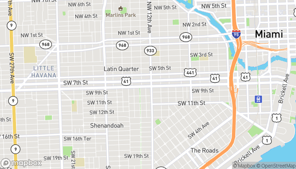 Map of 1221 SW 8th Street in Miami