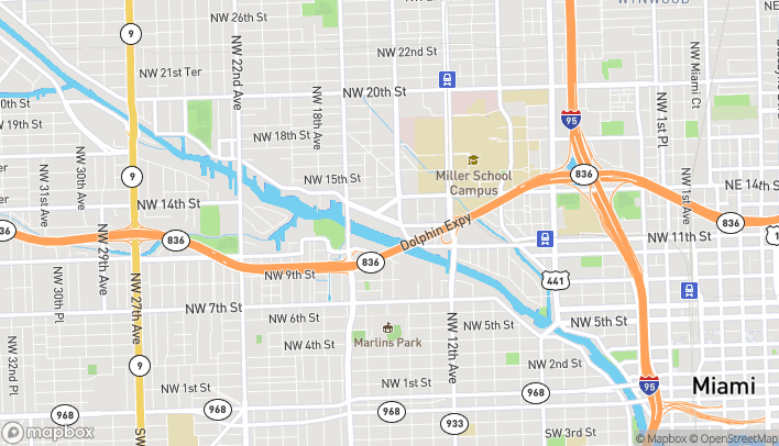 Map of 1440 NW North River Dr in Miami