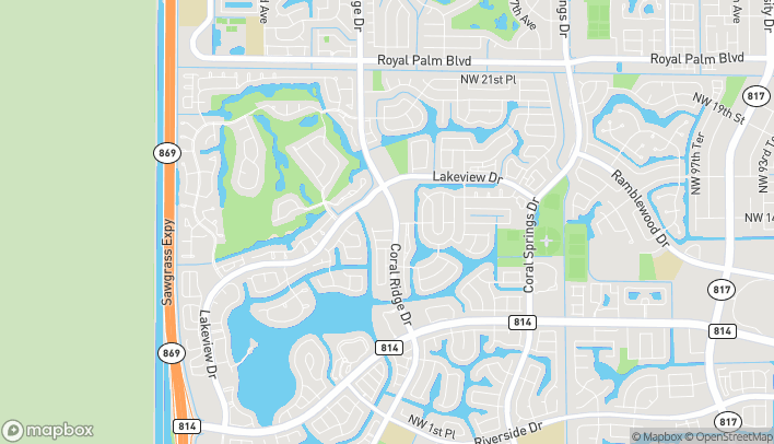 Map of 1300 Coral Ridge Drive in Coral Springs