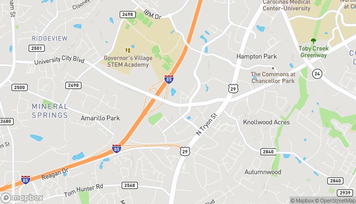 Map of 6925 University City Blvd in Charlotte