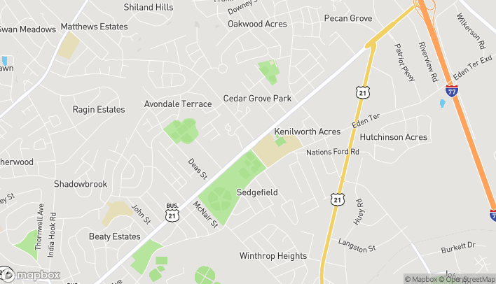 Map of 1739 Cherry Road in Rock Hill