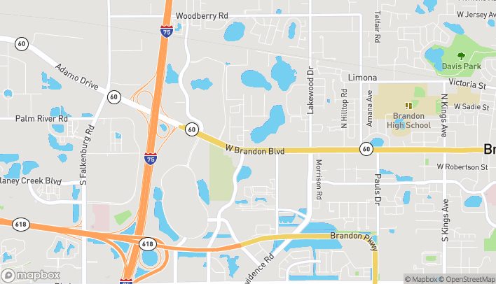 Map of 2020 W Brandon Boulevard in Brandon