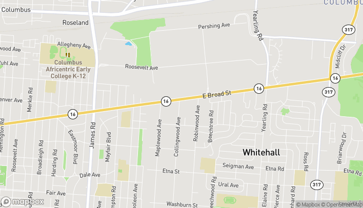 Map of 3845 E Broad St in Columbus