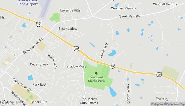 Map of 4375 Lexington Road in Athens