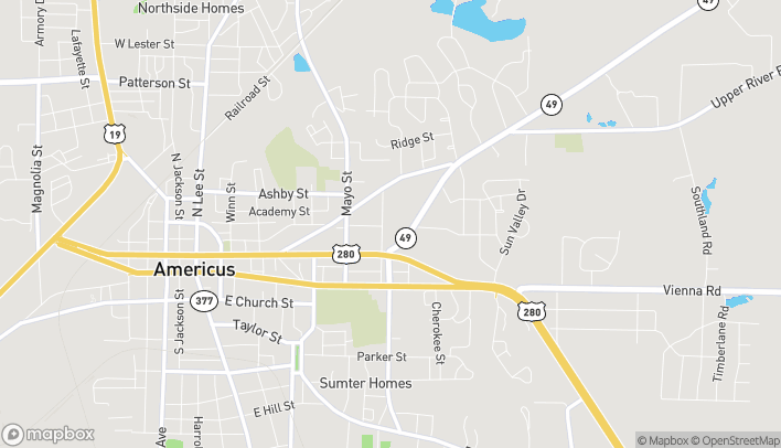 Map of 1206 Crawford Street in Americus