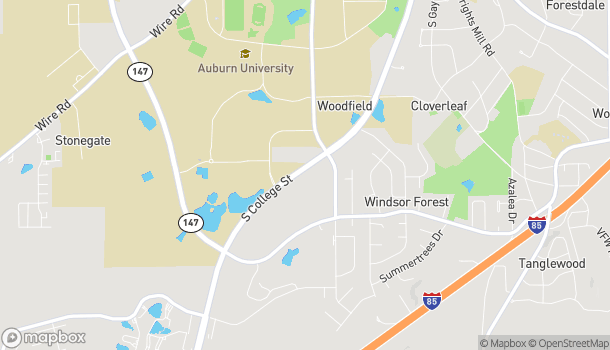 Map of 1121 S College St in Auburn