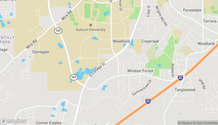 Mapa de 1121 S College St en Auburn