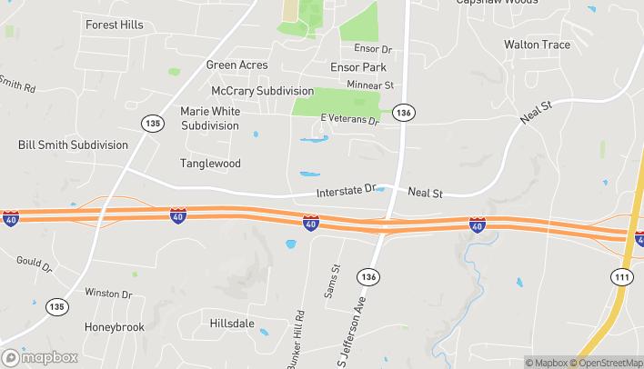 Mapa de 1255 Interstate Drive en Cookeville