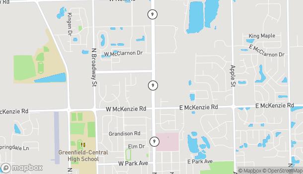 Mapa de 1346 N State St en Greenfield