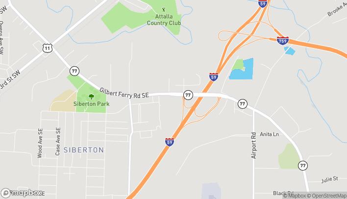 Mapa de 977 Gilbert Ferry Road SE en Attalla
