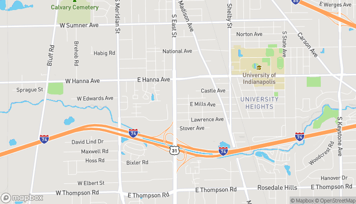 Map of 4155 S East Street in Indianapolis
