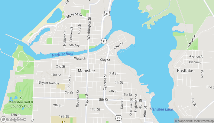 Map of 85 Cypress Street in Manistee