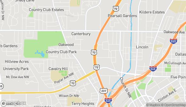 Map of 1217 Memorial Pkwy NW in Huntsville