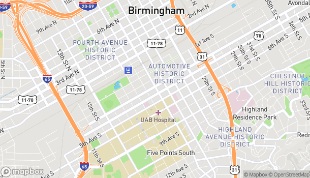 Map of 306 20th Street South in Birmingham
