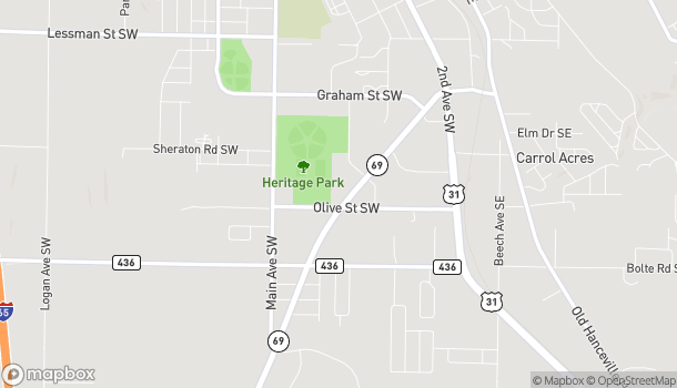 Mapa de 1871 Cherokee Avenue SW en Cullman