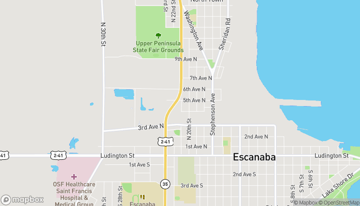Map of 536 North Lincoln Road in Escanaba