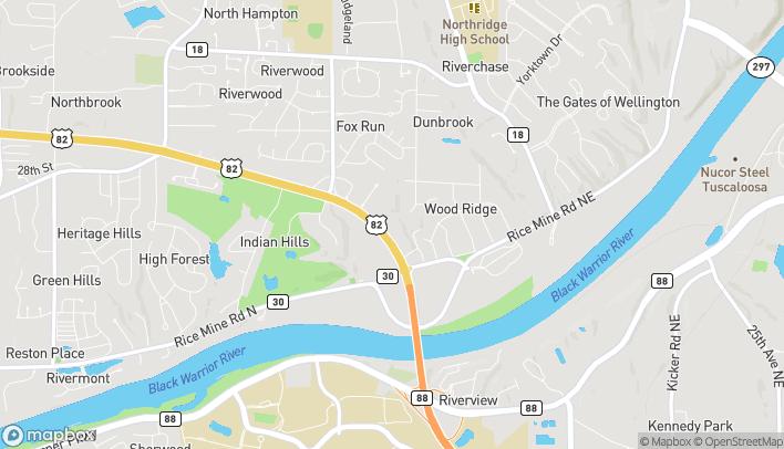 Map of 1351 McFarland Blvd NE in Tuscaloosa