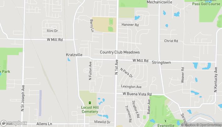 Mapa de 4600 N First Ave en Evansville