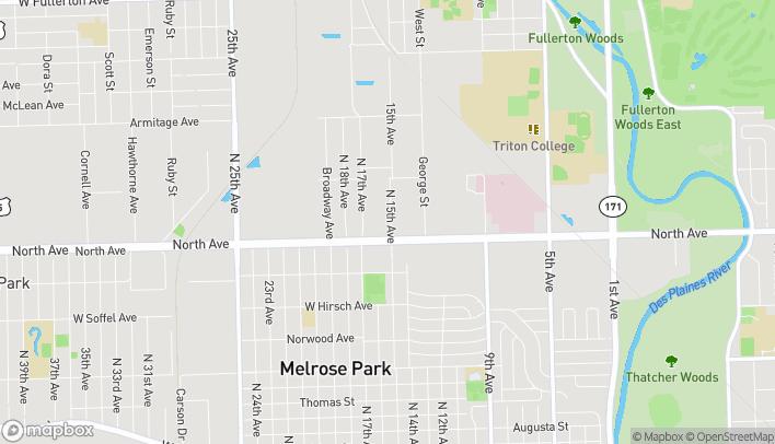 Mapa de 1505 W N Ave en Melrose Park