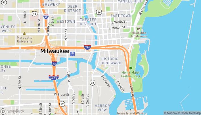 Map of 250 N Water Street in Milwaukee