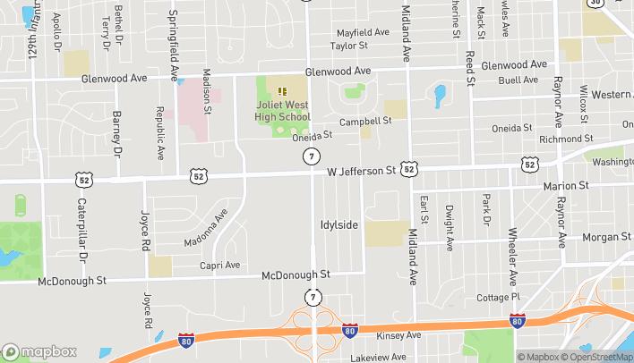 Map of 1728 W Jefferson St in Joliet