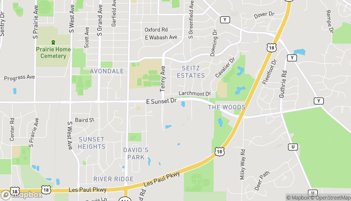 Map of 721 E Sunset Dr in Waukesha